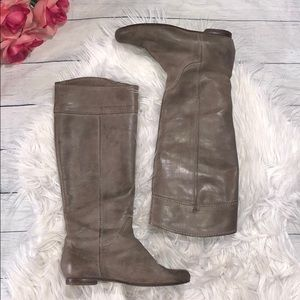 Chloe Heloise Calfskin Leather Grey Riding Boots